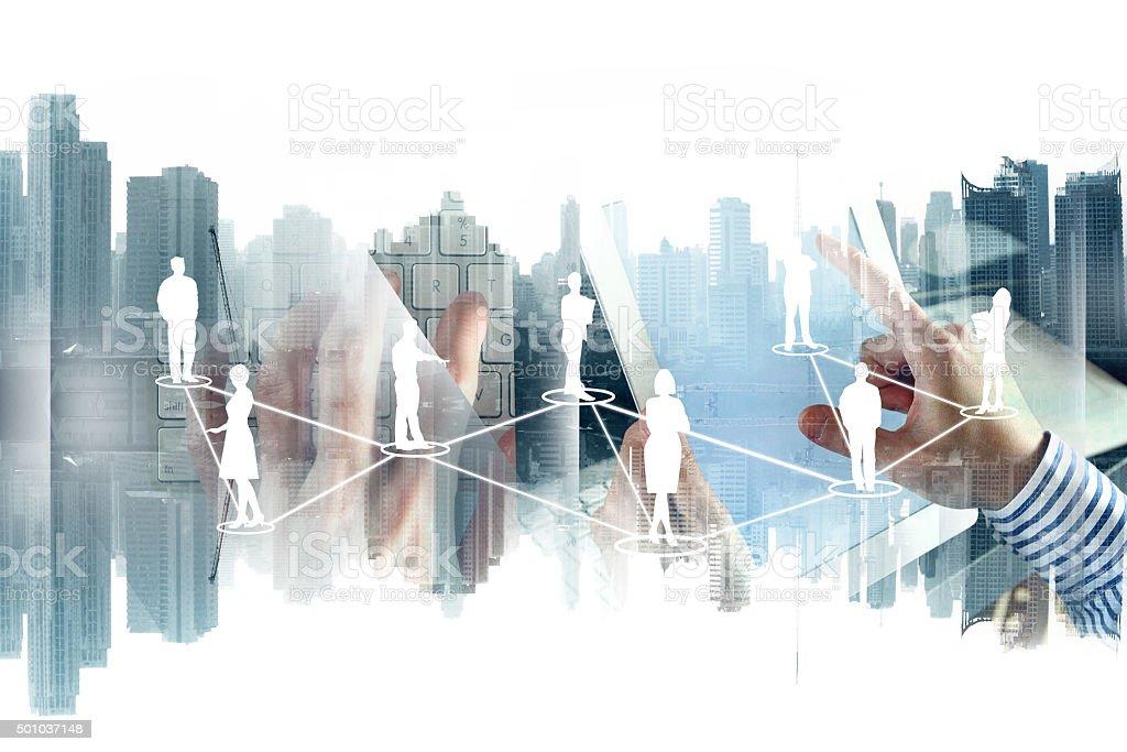 Network on cityscape background stock photo