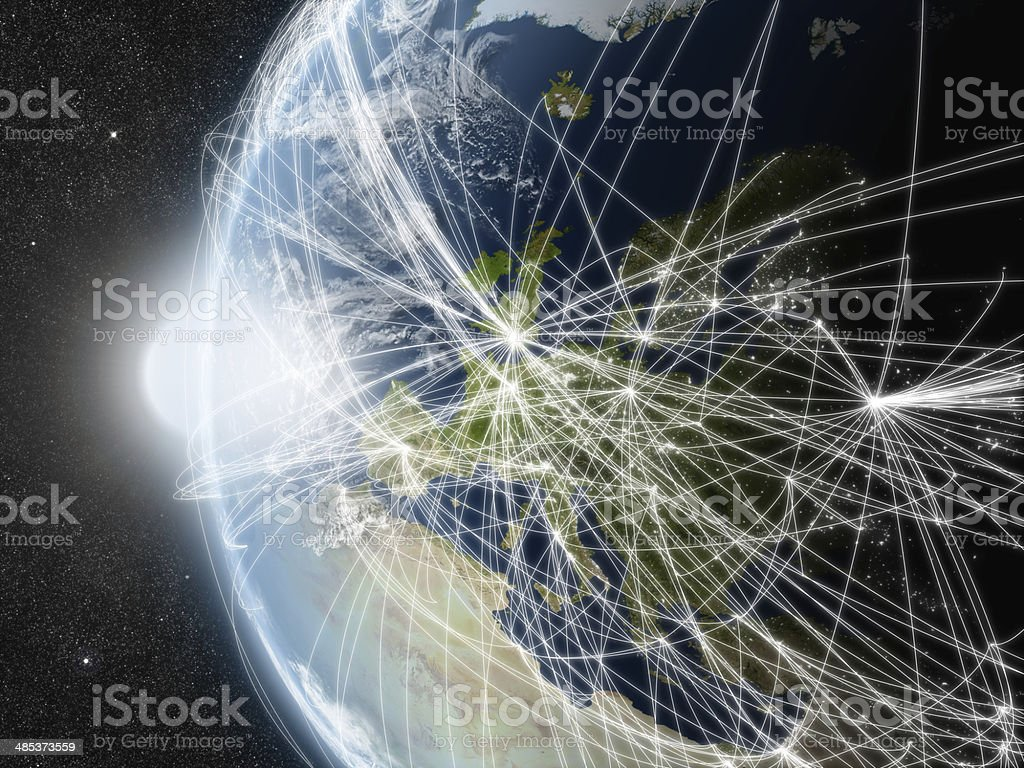Network over Europe stock photo