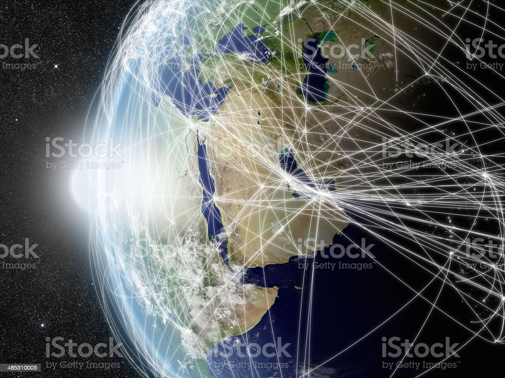 Network over Middle East stock photo