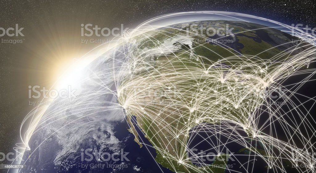 Network over North America stock photo