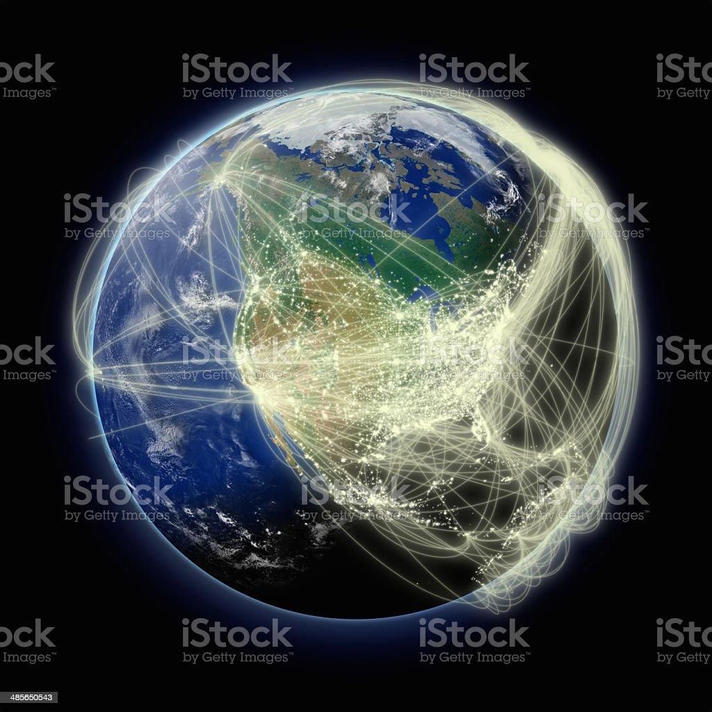 Network over North America stock photo