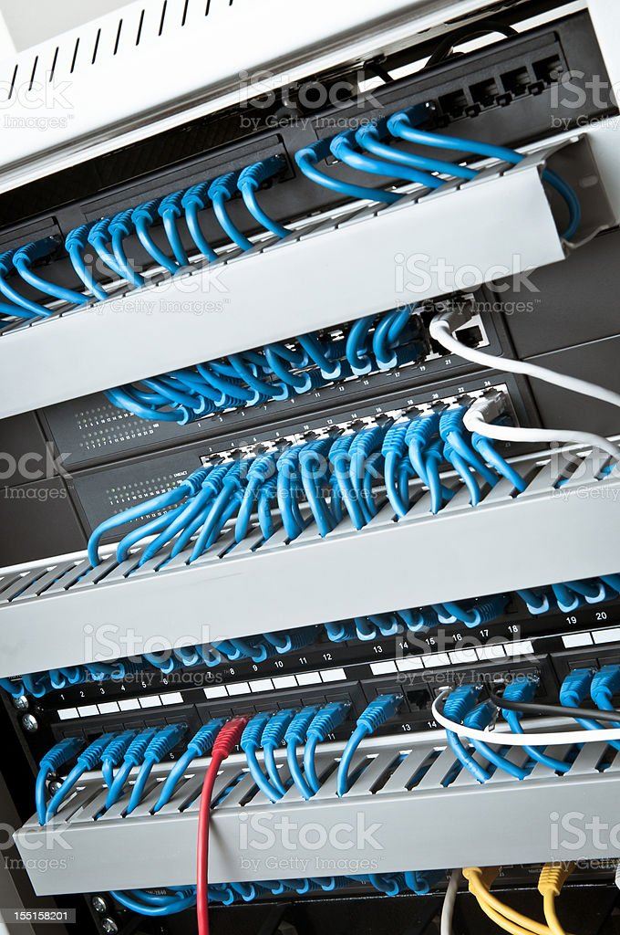 Network panel, hub and cable royalty-free stock photo
