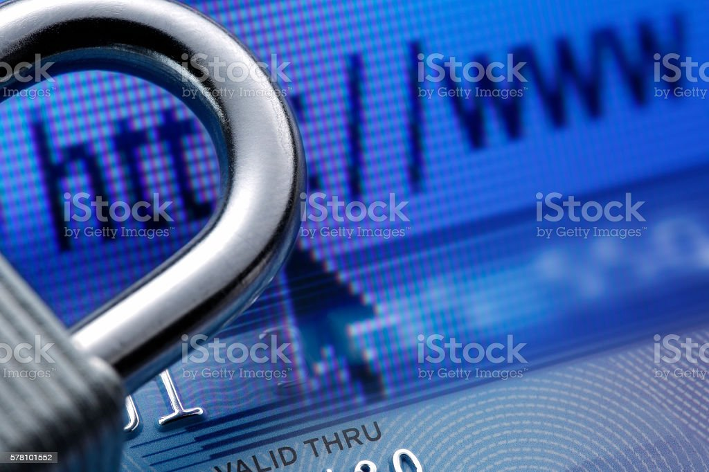Network security of financial transactions stock photo
