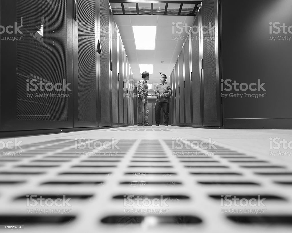 Network Server administrators are discussing work royalty-free stock photo