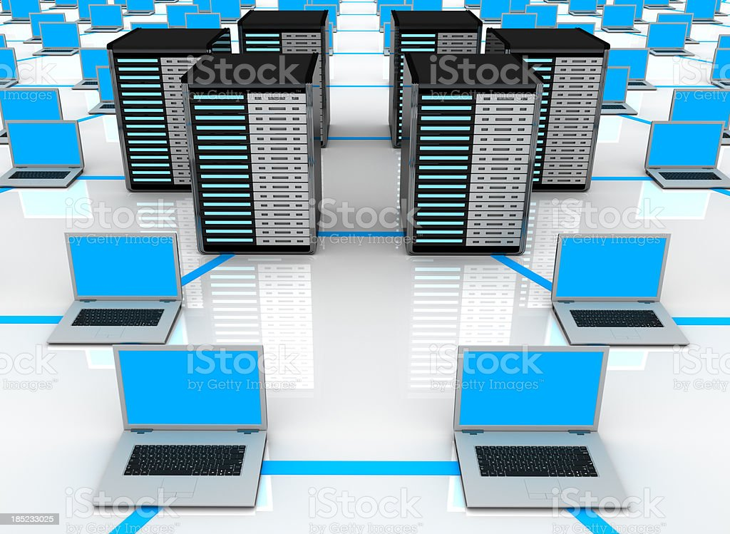 network server and laptop concept stock photo