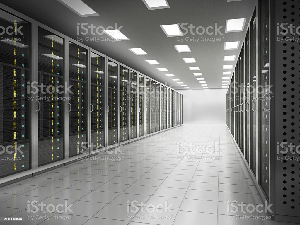 Network server equipment room stock photo
