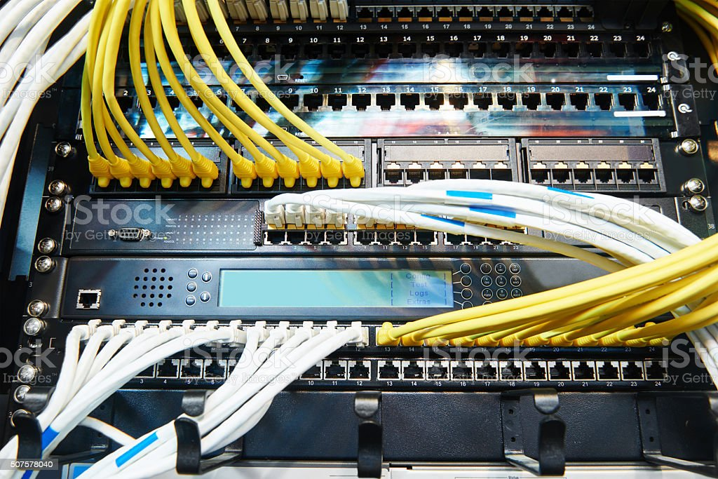 network server equipment with optical fibre cables stock photo