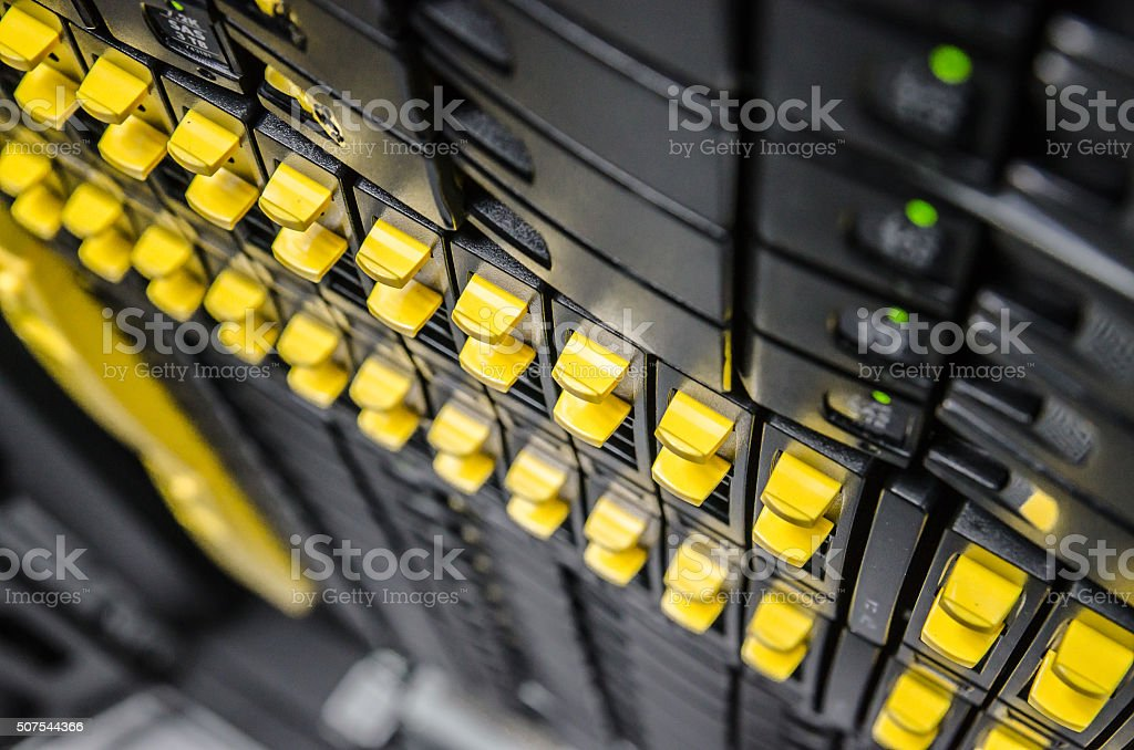 network server in datacenter shallow in dept of field stock photo