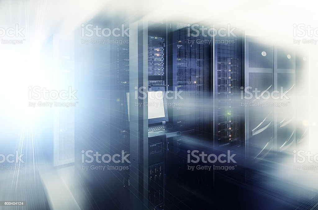network server room with computers for digital tv ip communications stock photo