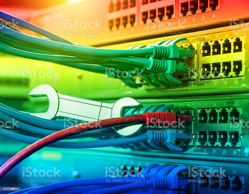 network server with wrench stock photo