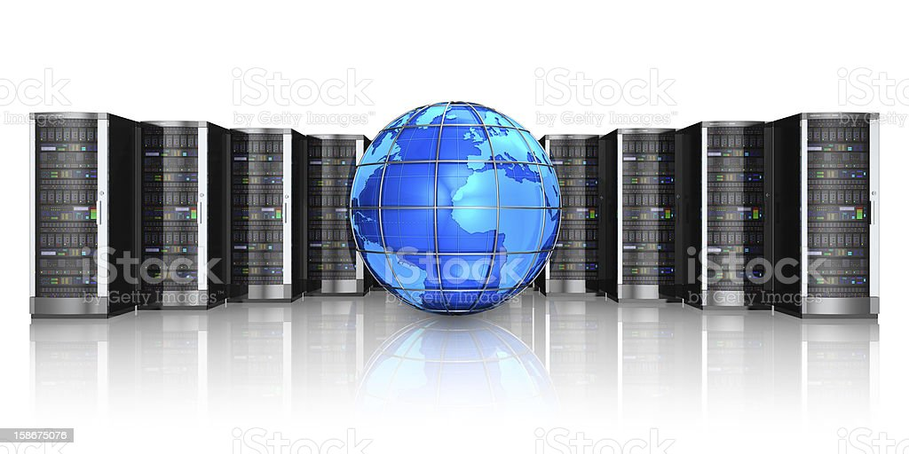 Network servers and Earth globe royalty-free stock photo