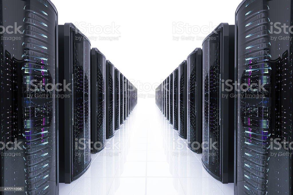 Network servers racks on white stock photo