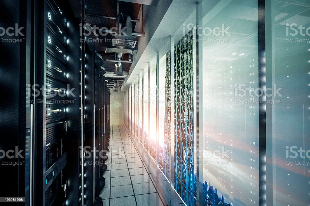 Network servers racks with skyline stock photo