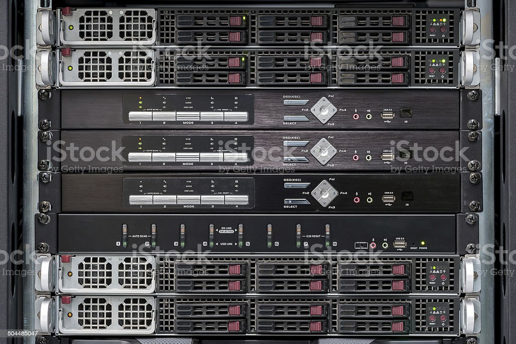 network servers with kvm switch stock photo