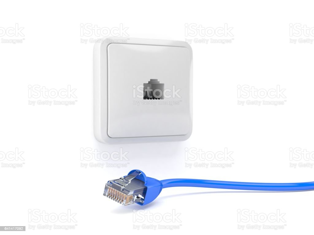 Network socket with network cable stock photo