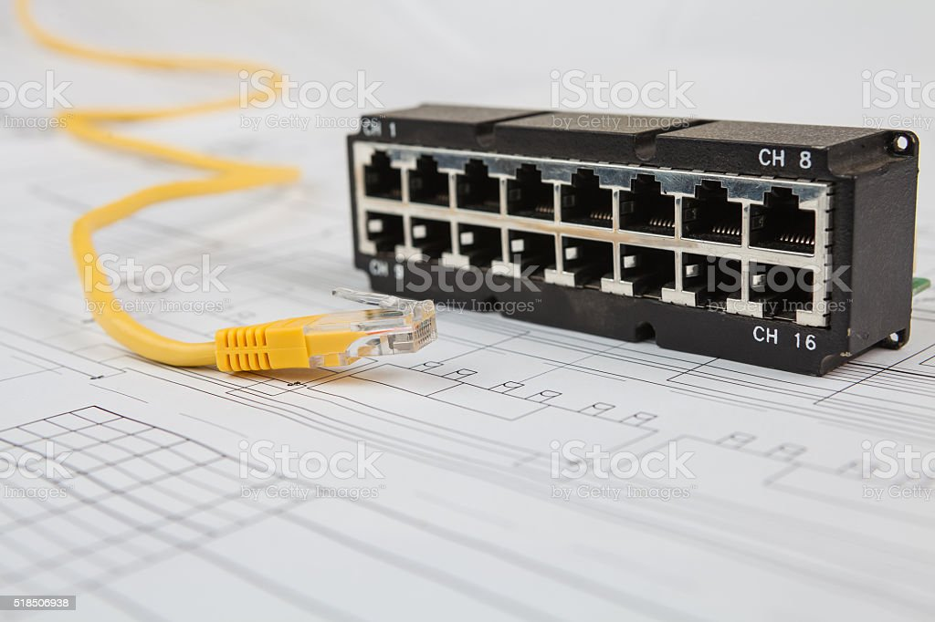 Network switch and UTP ethernet cable stock photo