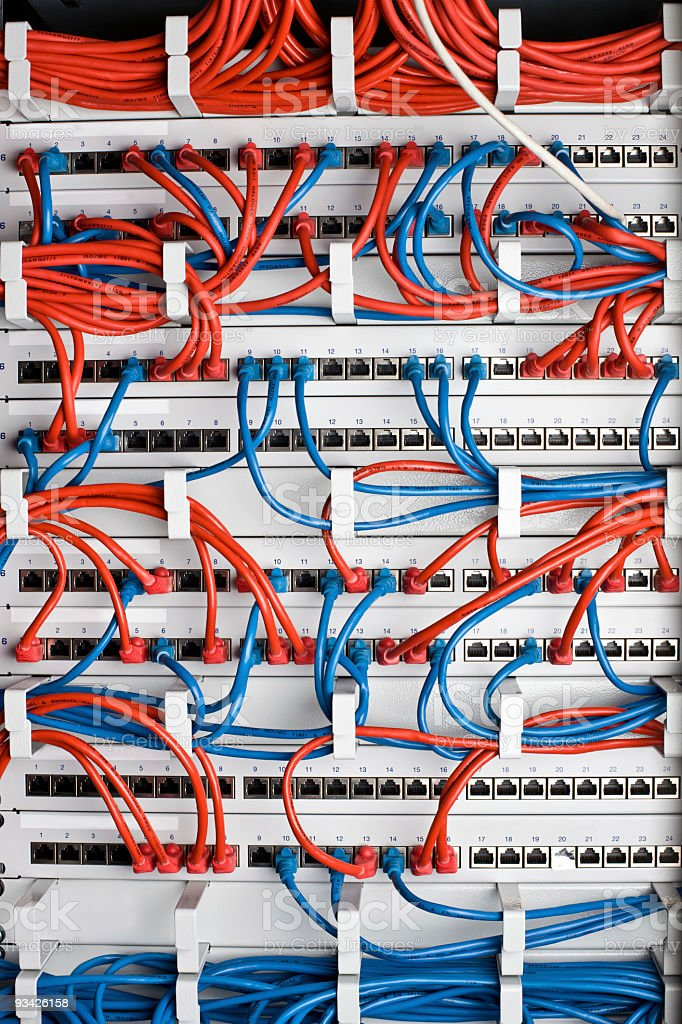 network switch cables stock photo