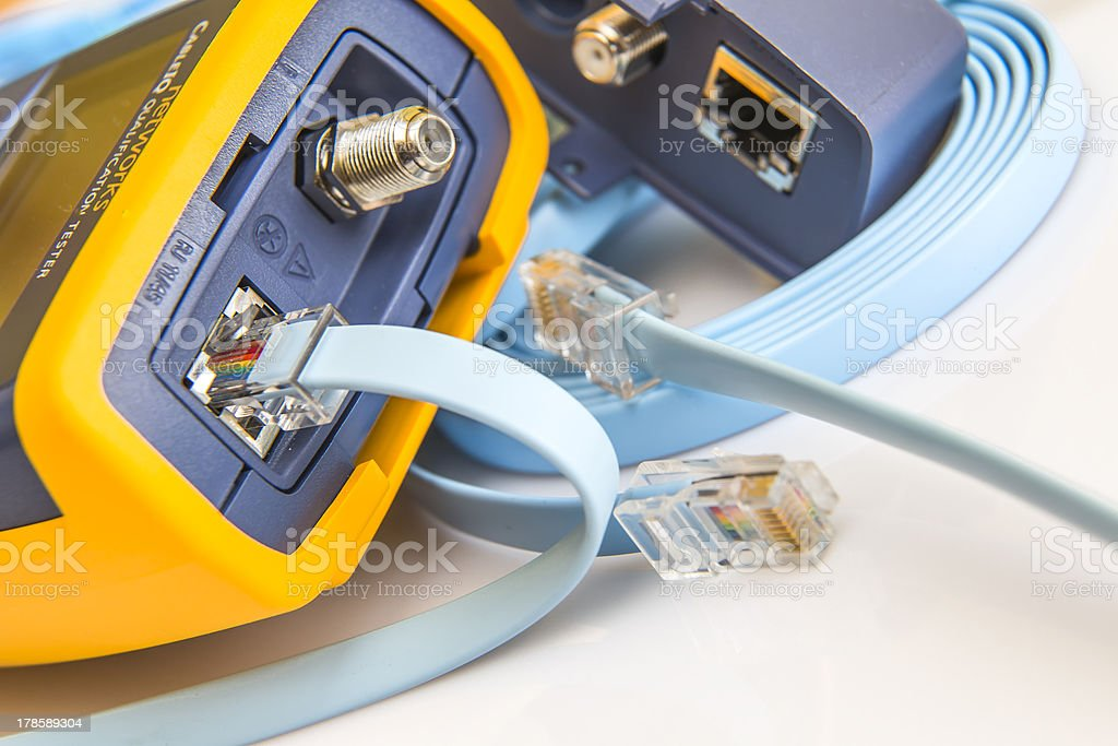network tester for RJ45 connectors  with cable royalty-free stock photo