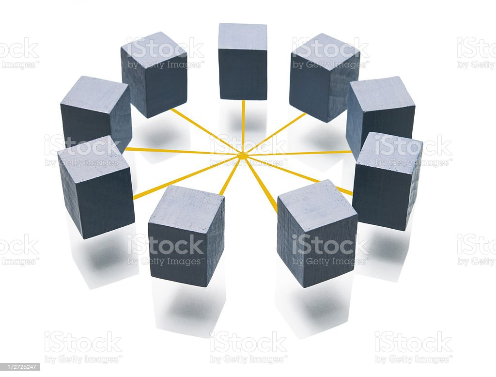 Network with cubes royalty-free stock photo