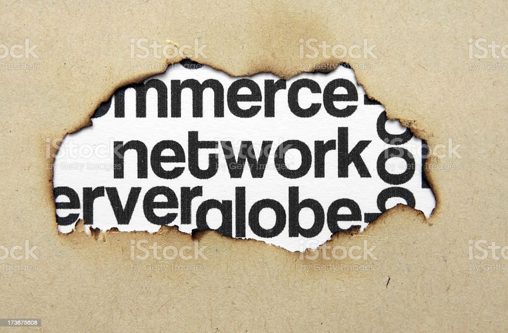 Network word cloud on paper hole royalty-free stock photo
