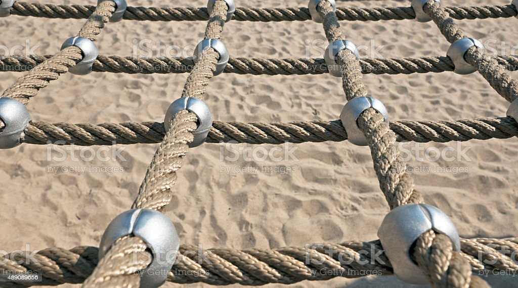 networked Ropes on climbing frame stock photo