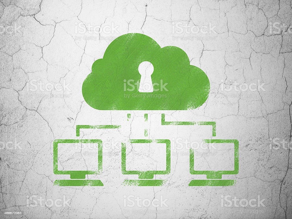 Networking concept: Cloud Network on wall background stock photo