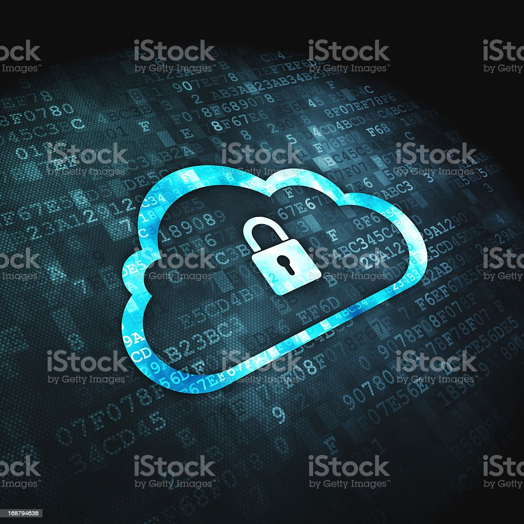 Networking concept: Cloud Whis Padlock on digital background royalty-free stock photo