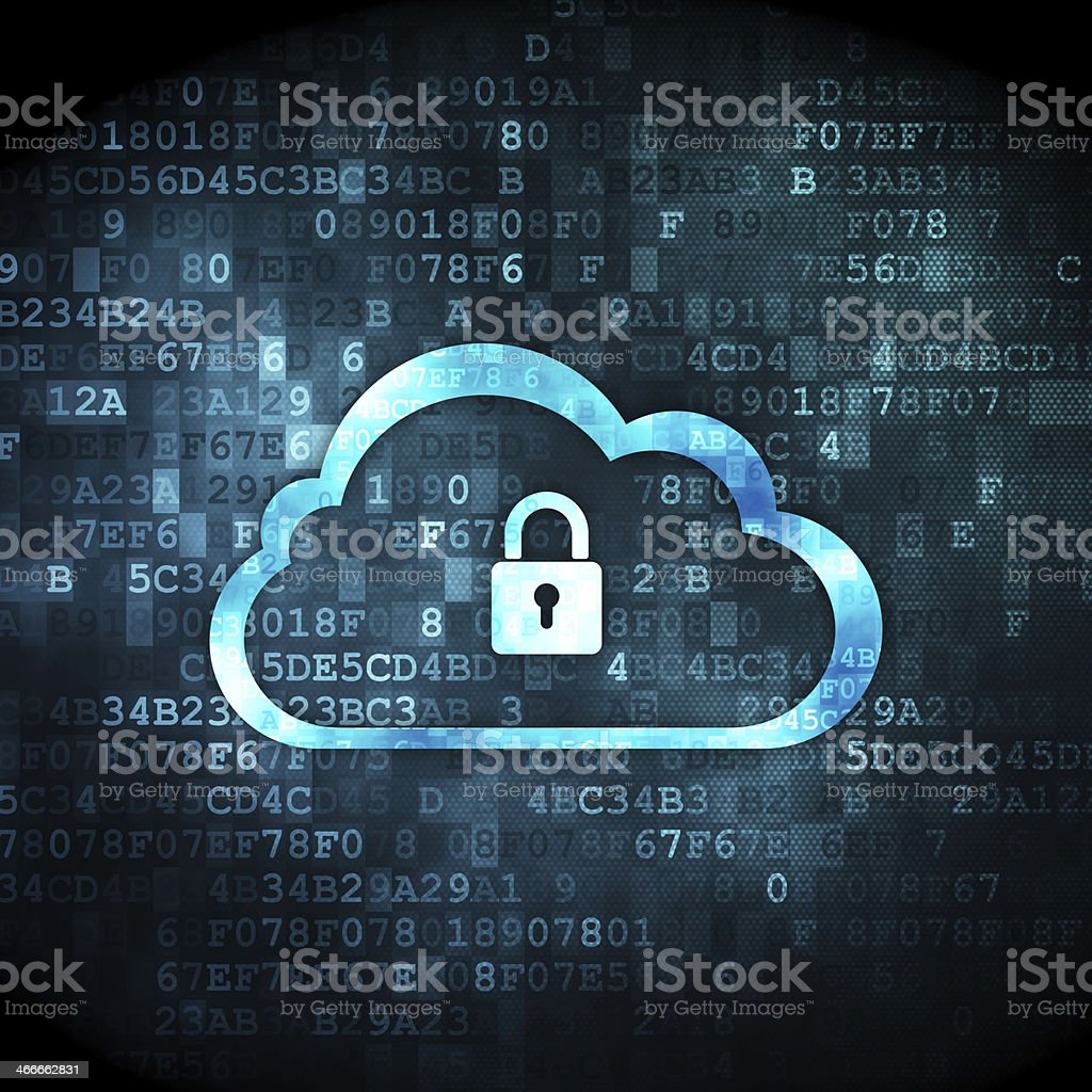 Networking concept: Cloud With Padlock on digital background stock photo