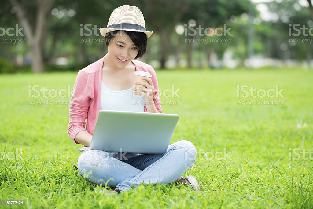 Networking in the park royalty-free stock photo