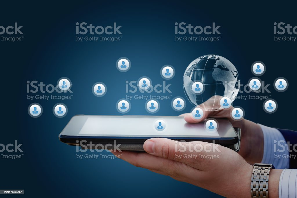 Networking on a mobile device. stock photo