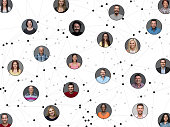Networking portraits connected by lines
