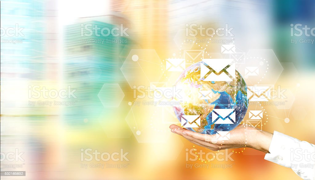 Networking system email icons stock photo