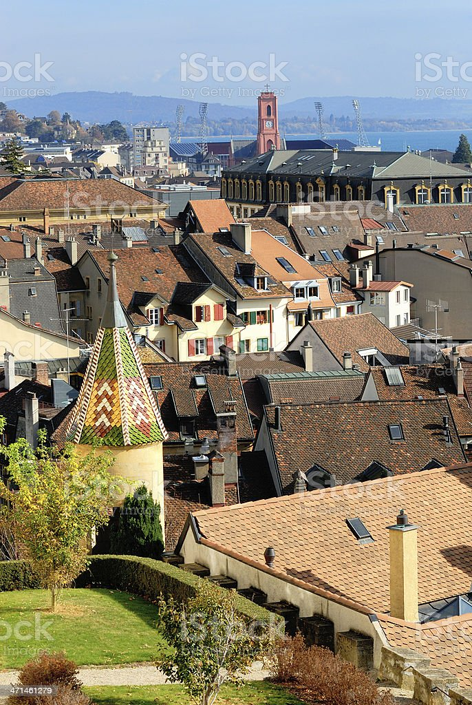 Neuchatel city, Switzerland stock photo
