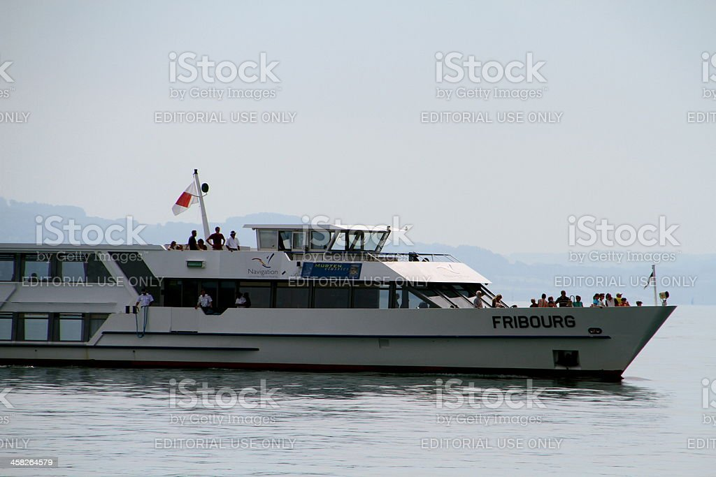 Neuchatel lake ferry stock photo