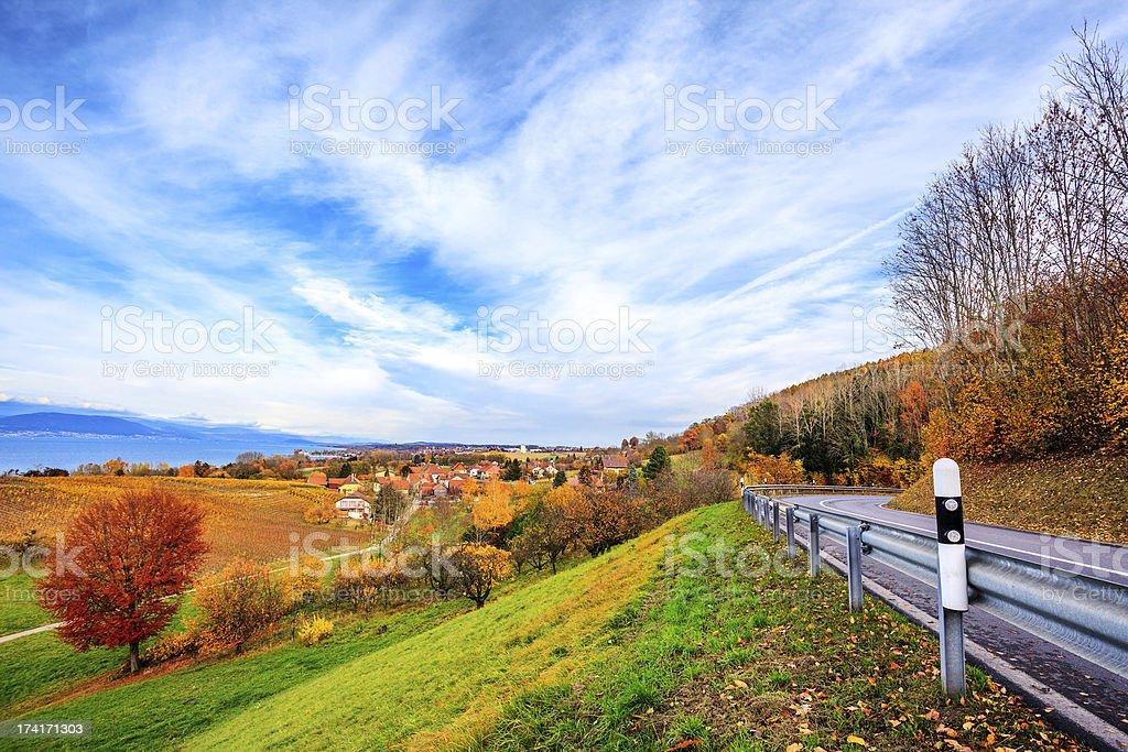 Neuchatel lake in Switzerland stock photo