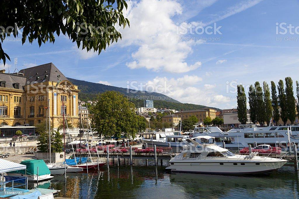 Neuchatel Port, Switzerland stock photo