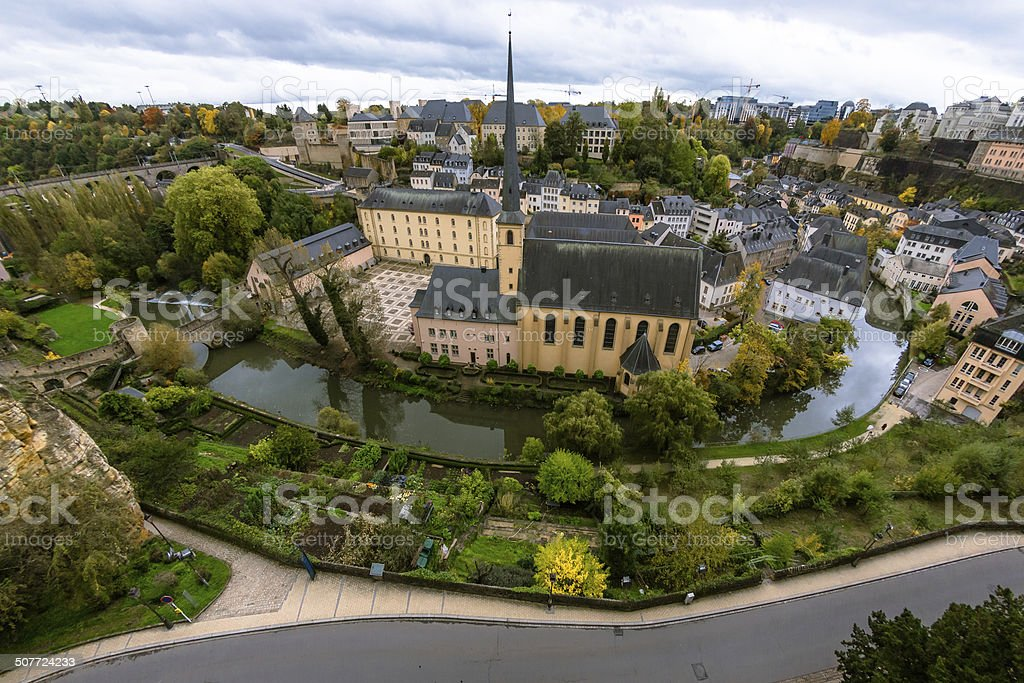 Neumünster Abbey in Luxembourg City stock photo