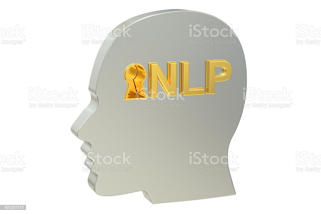 Neuro-linguistic programming NLP concept, 3D rendering stock photo
