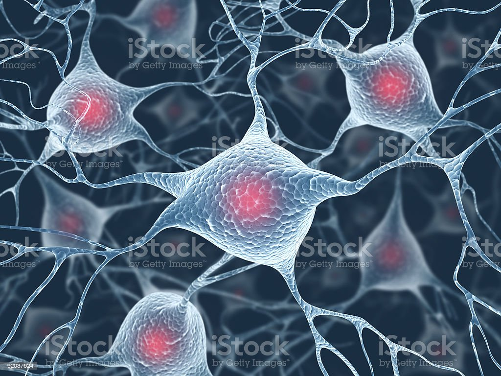 Neurons and Nucleus stock photo