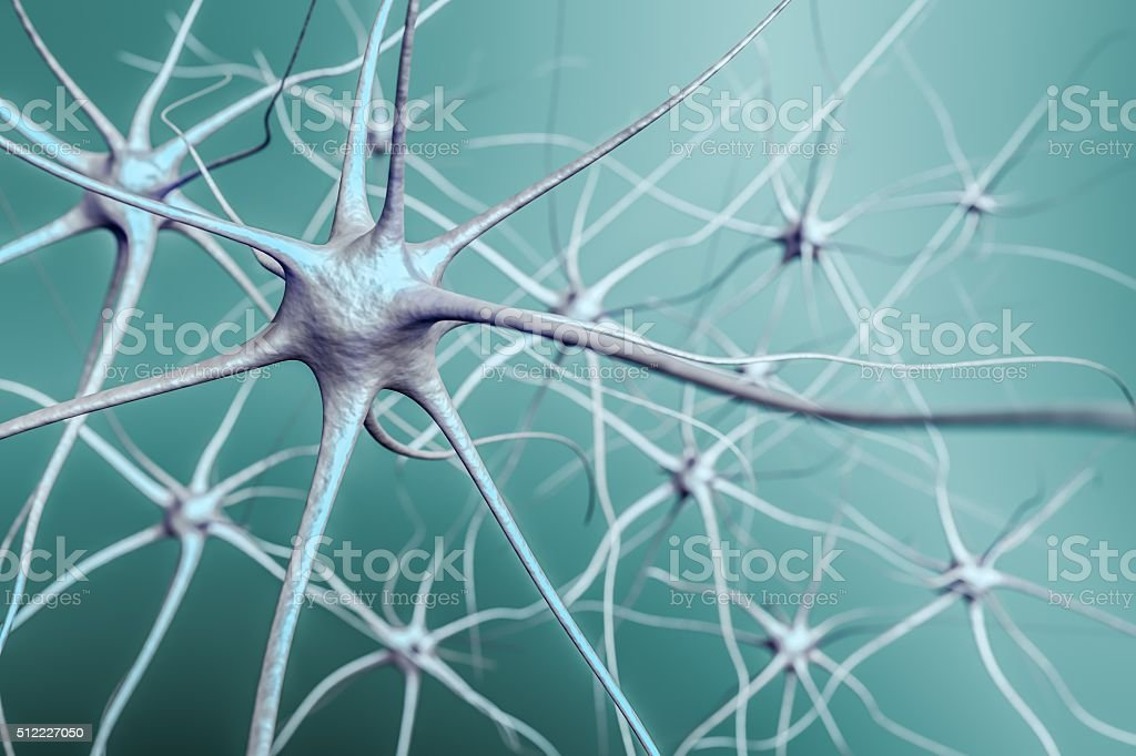 Neurons in brain, 3D illustration of neural network. stock photo