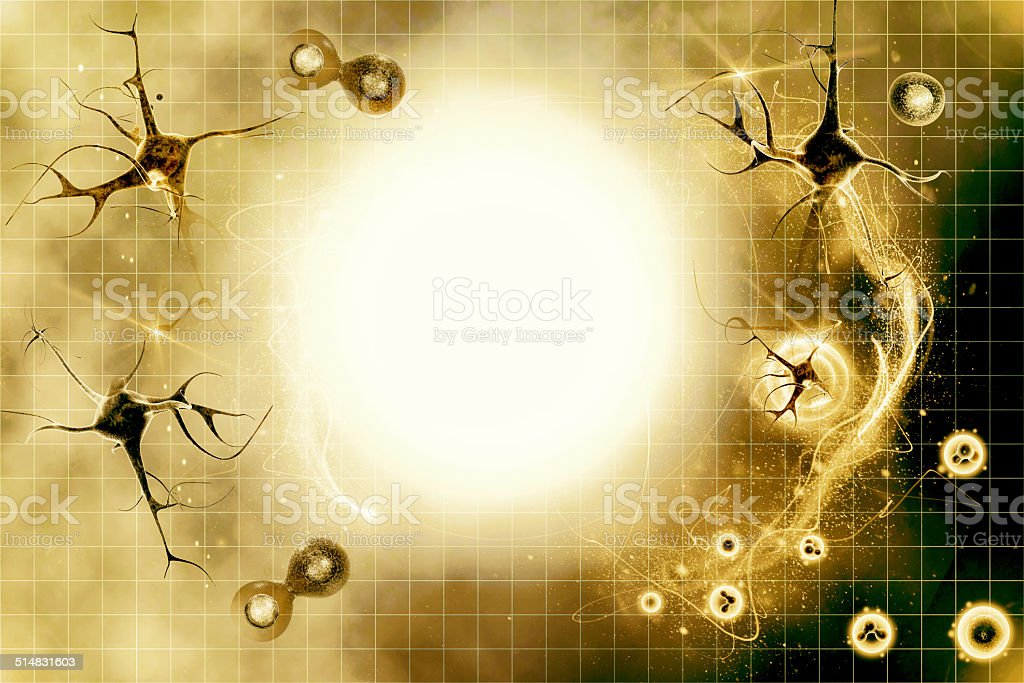 neurons in colour background stock photo