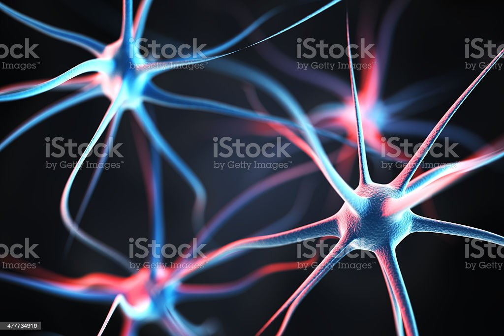Neurons in the brain stock photo