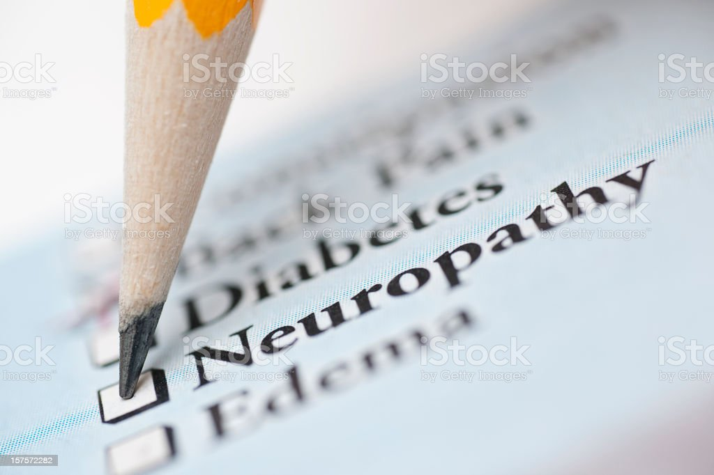 neuropathy - medical check off list stock photo