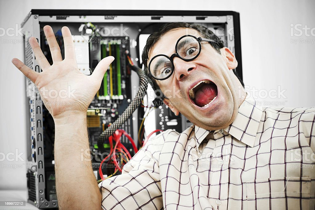 Neurotic male geek screaming stock photo
