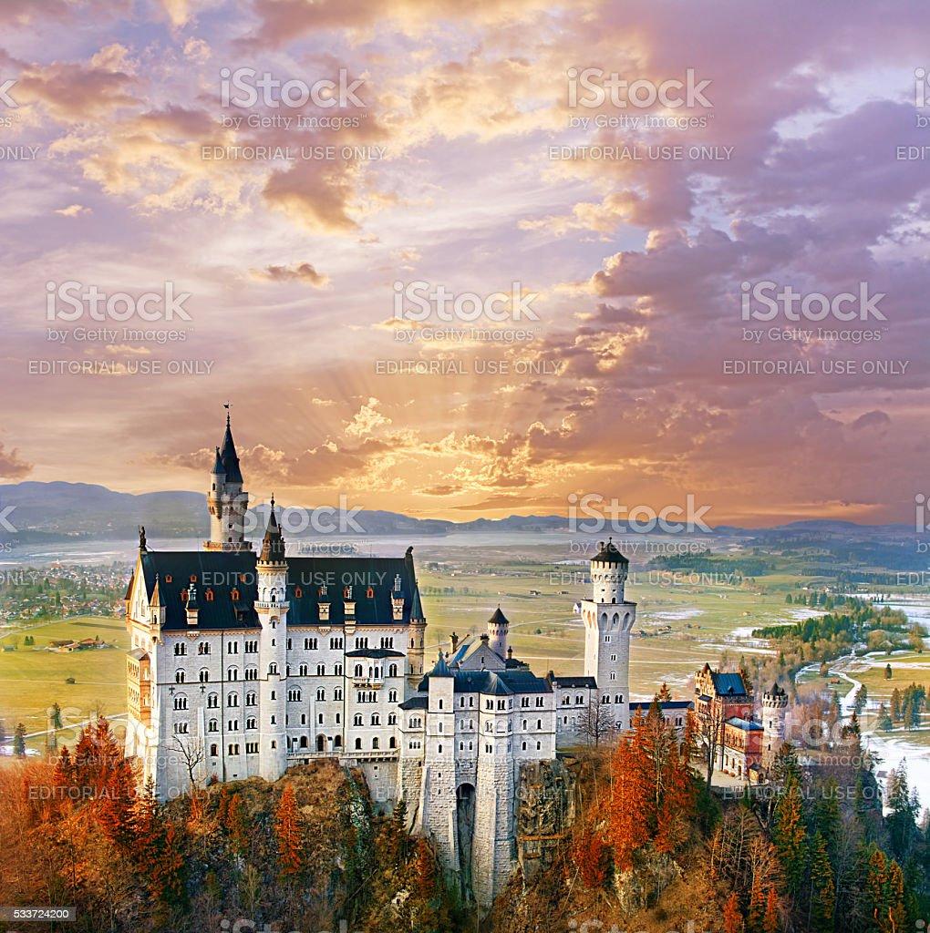 Neuschwanstein, beautiful fairytale castle near Munich, Germany stock photo