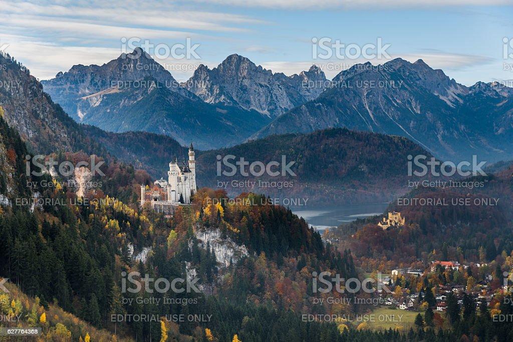 Neuschwanstein castle and Hohenschwangau castle stock photo