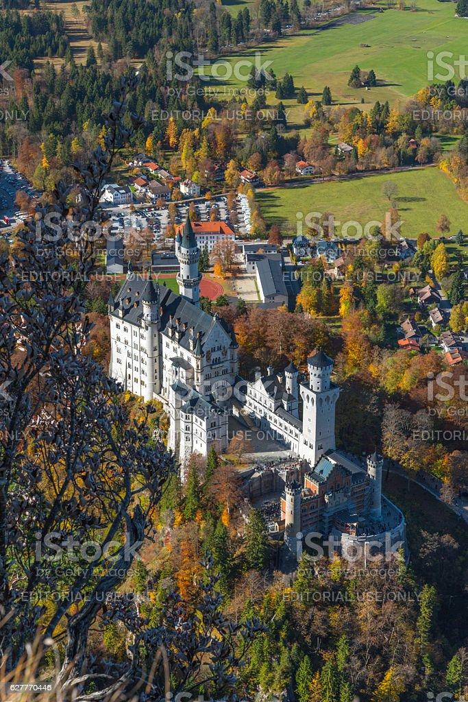 Neuschwanstein castle in autumn stock photo
