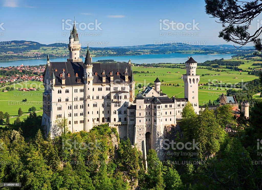 Neuschwanstein Castle in summer stock photo
