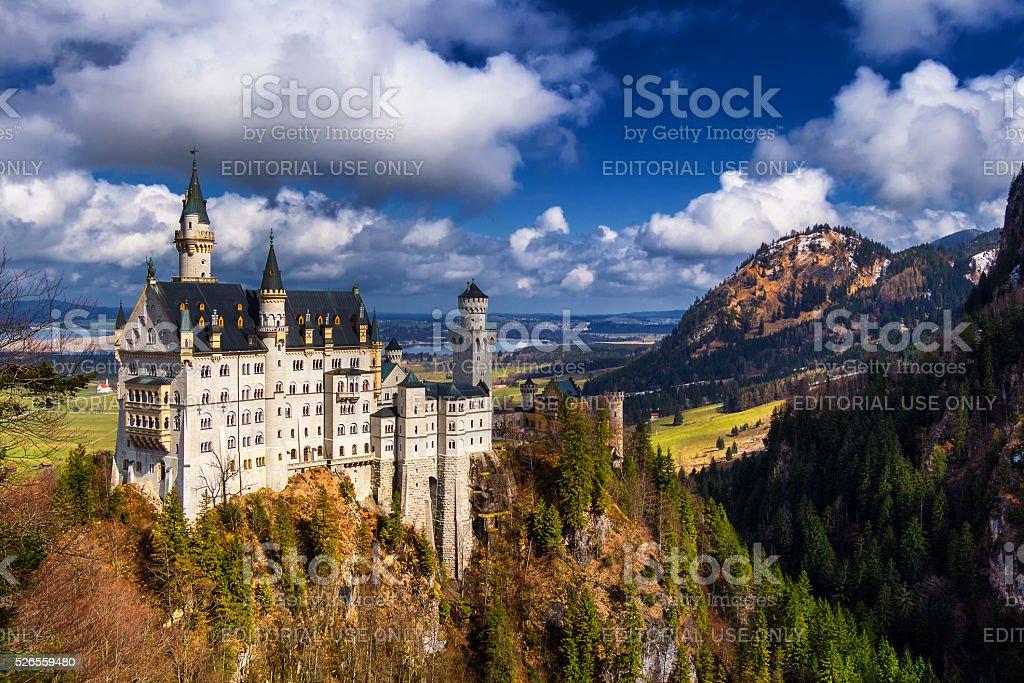 Neuschwanstein Castle in winter landscape, Fussen, Germany stock photo