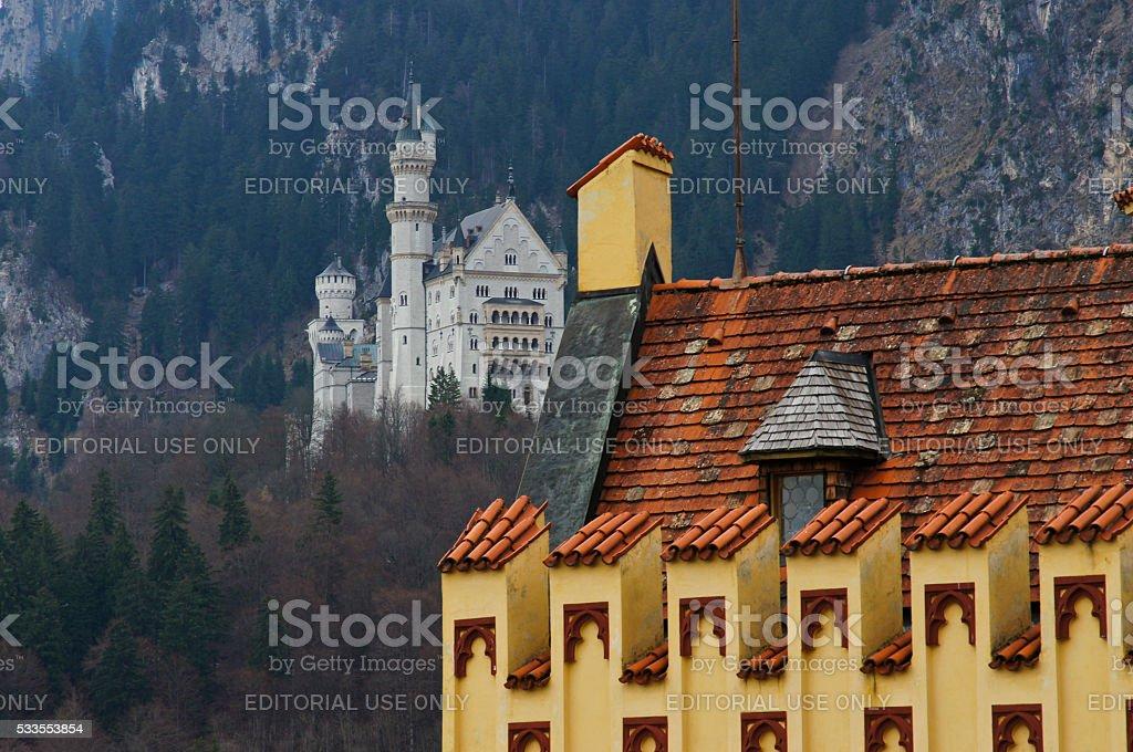 Neuschwanstein Castle seen from Hohenschwangau Castle in Germany stock photo